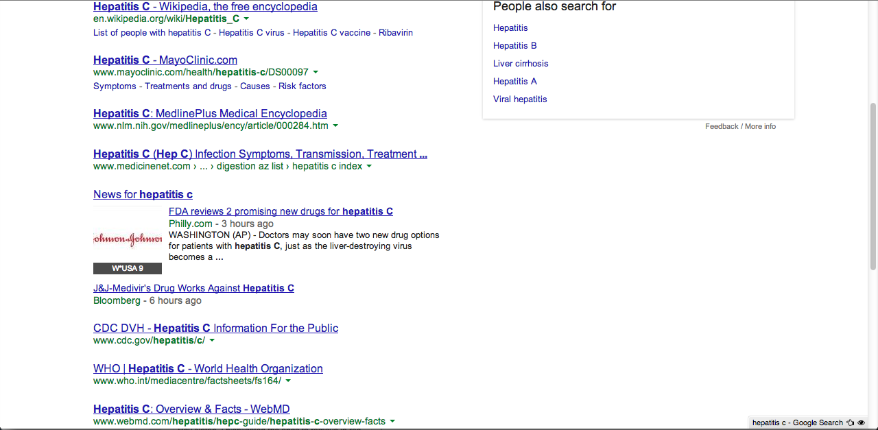 Strange SERP: this query for [hepatitis c] contains no descriptions in the snippets.